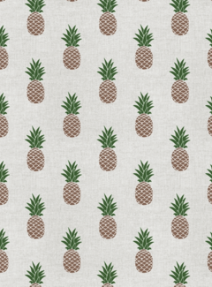 Decostoffen Ananas print linnenlook