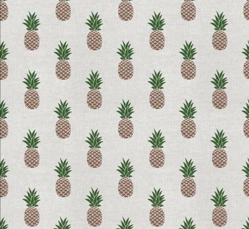 Decostoffen Ananas print op linnenlook stof