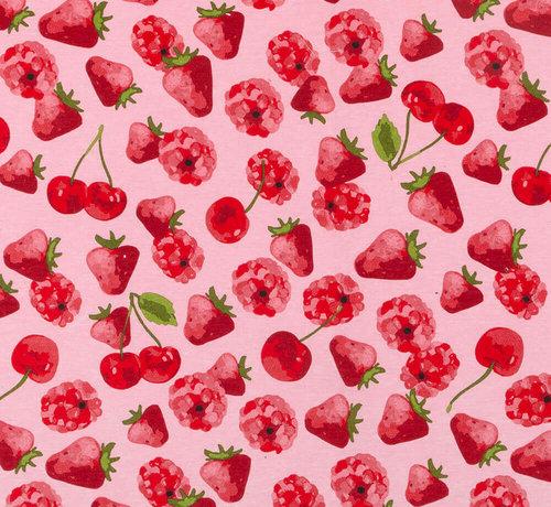 Decostoffen Aardbeien en kersen ottoman
