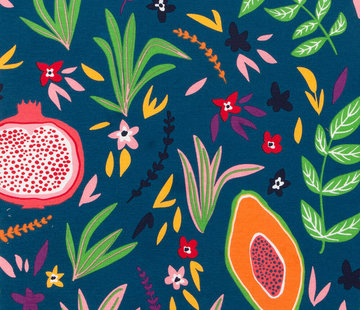 Decostoffen Vruchten blauwe ottoman