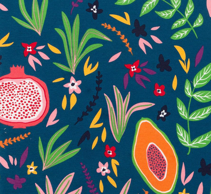 Vruchten blauwe ottoman