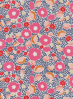 Decostoffen Roze bloemen ottoman