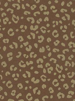 Decostoffen Panterprint bruin goud half panama metallic