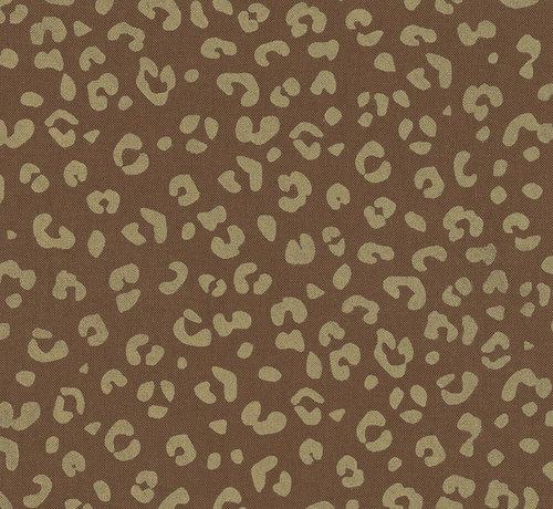 Decostoffen Goud panterprint patroon op een bruine half panama stof