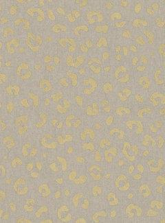 Decostoffen Panterprint goud metallic half panama
