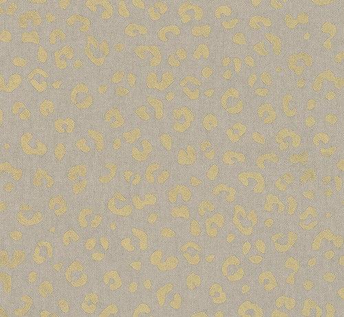 Decostoffen Goud panterprint patroon op een linnenlook ondergrond