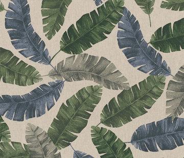 Decostoffen Palmbladeren kleur linnenlook