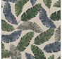 Blauwe, grijze en groene palmbladeren op linnenlook stof