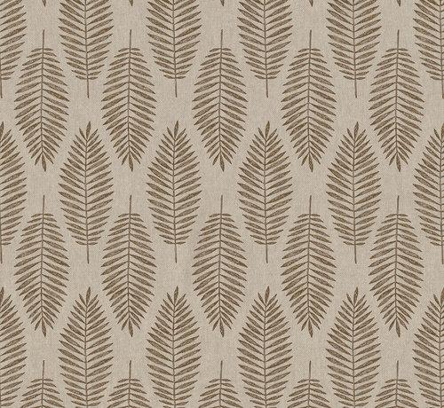 Decostoffen Bruine wilde bladeren op linnenlook stof