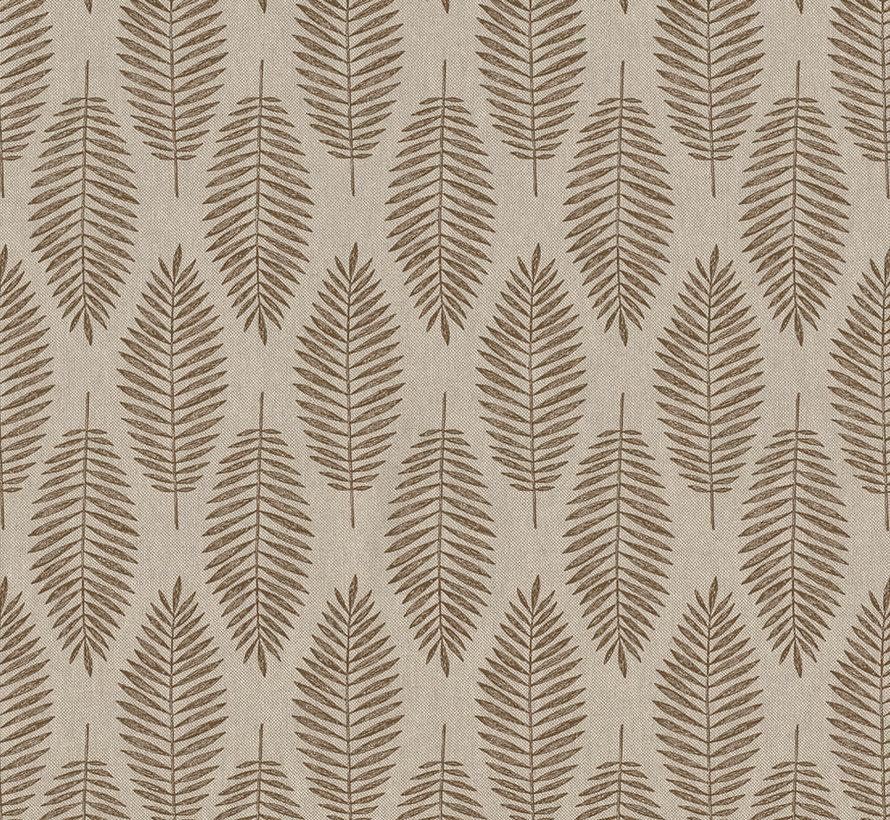Bruine wilde bladeren op linnenlook stof