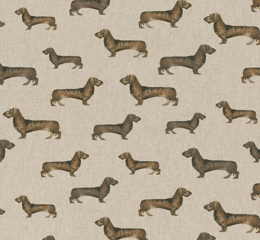 Bruine teckels op linnenlook stof