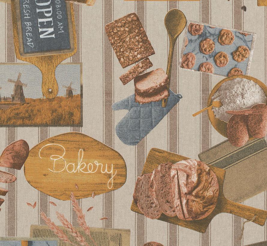 Linnenlook stof met brood en bakkerij producten