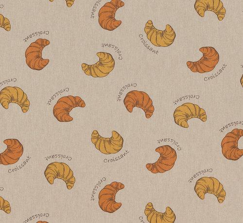 Decostoffen Bakkerij croissants op linnenlook stof