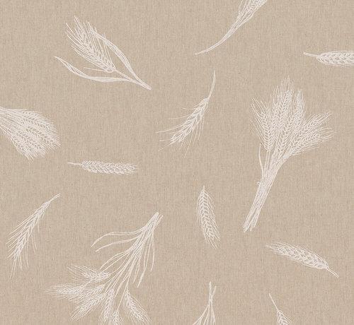 Decostoffen Witte granen op linnenlook stof