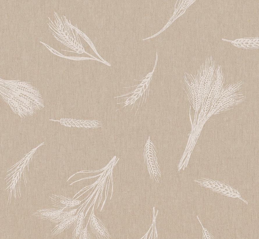 Witte granen op linnenlook stof