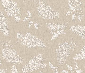 Decostoffen Witte bloemen linnenlook