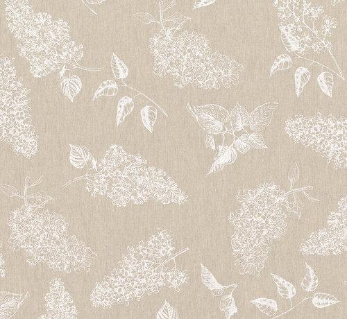 Decostoffen Witte bosjes bloemen op linnenlook stof