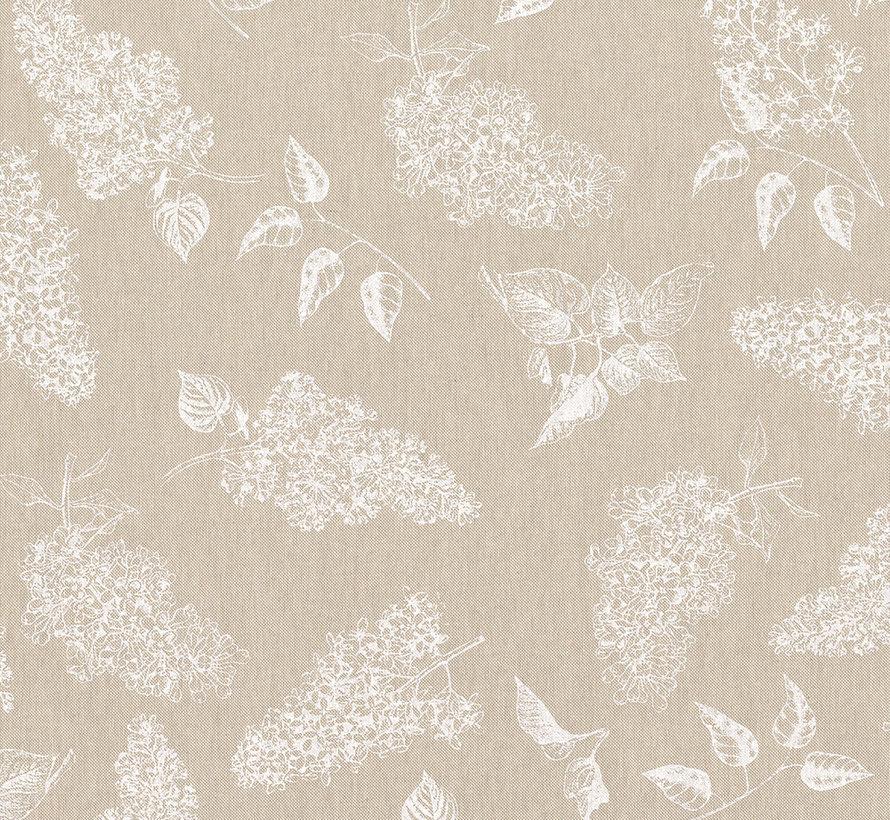 Witte bosjes bloemen op linnenlook stof