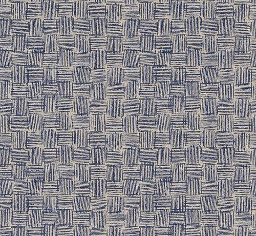 Decostoffen Indonesische blauwe rotan print op linnenlook stof