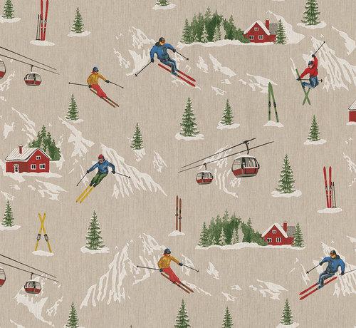Decostoffen Wintersport print met skiërs, bergen en skie liften op  linnenlook stof
