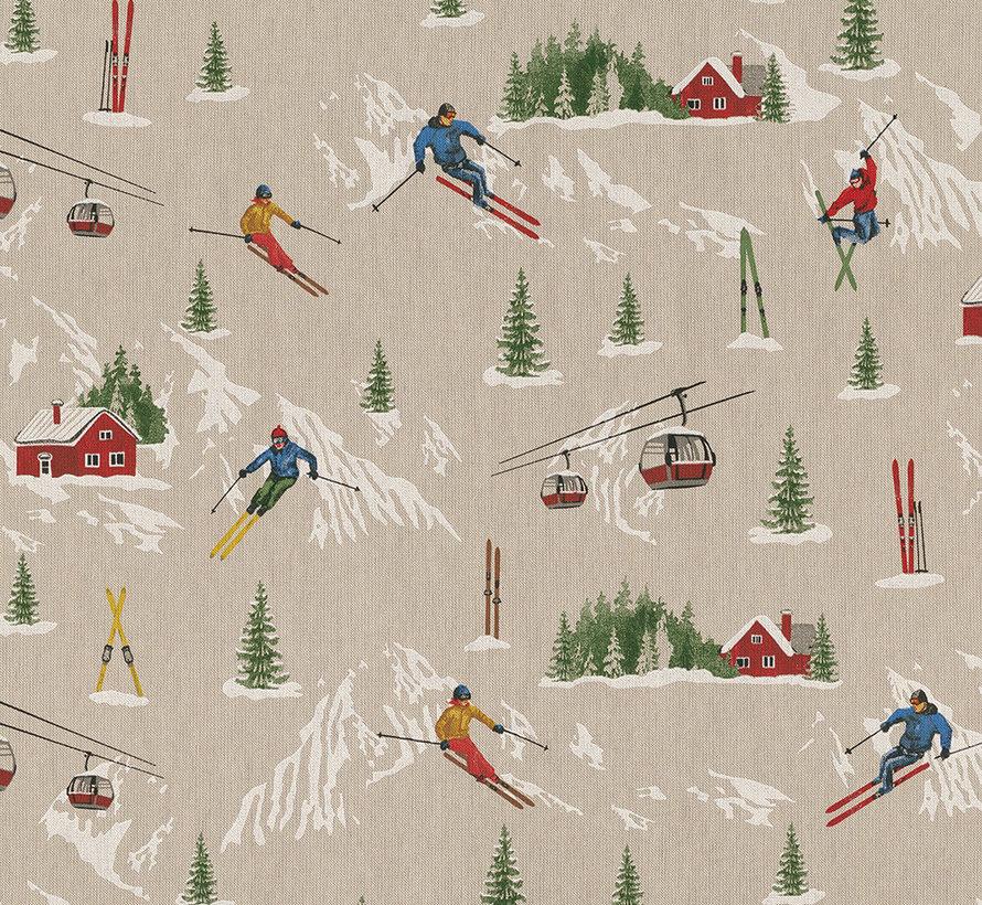 Wintersport print met skiërs, bergen en skie liften op  linnenlook stof