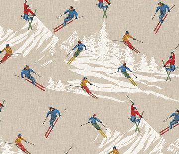 Decostoffen Skiën linnenlook