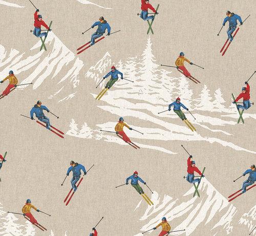 Decostoffen Skiënde mensen in de bergen op linnenlook stof
