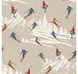 Skiënde mensen in de bergen op linnenlook stof