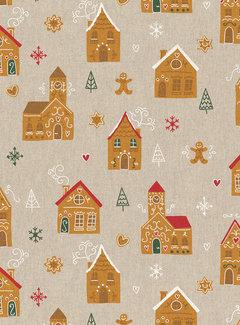 Decostoffen Kerstmarkt huizen linnenlook