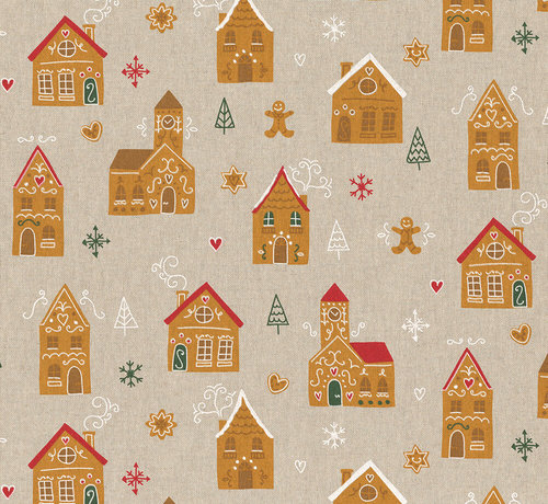 Decostoffen Kerstmarkt huizen, peperkoek mannetjes en sneeuwvlokken op linnenlook stof