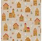 Kerstmarkt huizen, peperkoek mannetjes en sneeuwvlokken op linnenlook stof