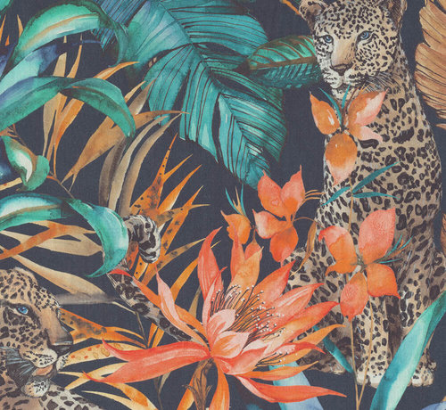 Decostoffen Tropical leopard digitale print