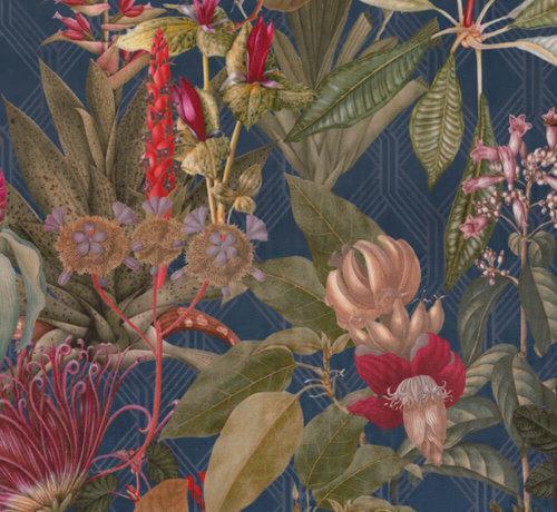 Decostoffen Donkerblauwe tropical velvet deluxe