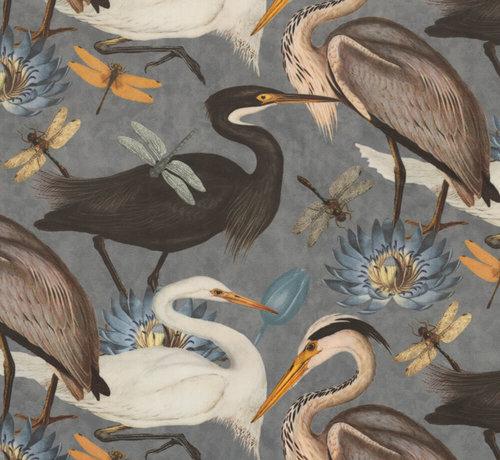 Decostoffen Vogels en bloemen grijs velvet deluxe