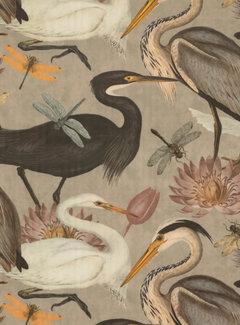 Decostoffen Vogels en bloemen sand velvet deluxe
