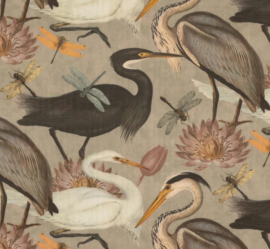 Vogels en bloemen sand velvet deluxe