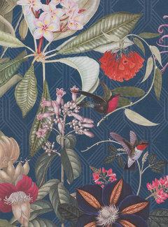 Decostoffen Grafische tropical donkerblauwe digitale print stof