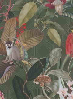 Decostoffen Donkergroene tropical digitale print