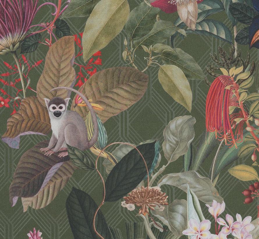Donkergroene tropical digitale print