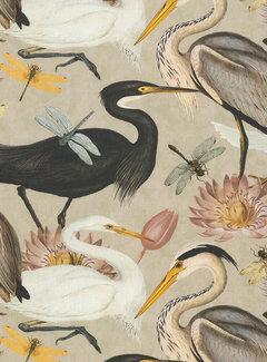 Decostoffen Vogels en bloemen sand digitale print