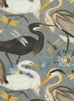 Decostoffen Vogels en bloemen grijs digitale print