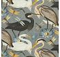 Vogels en bloemen grijs digitale print