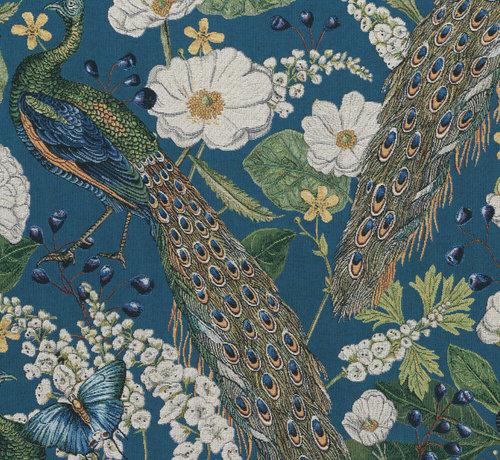 Decostoffen Pauw blauw gobelin