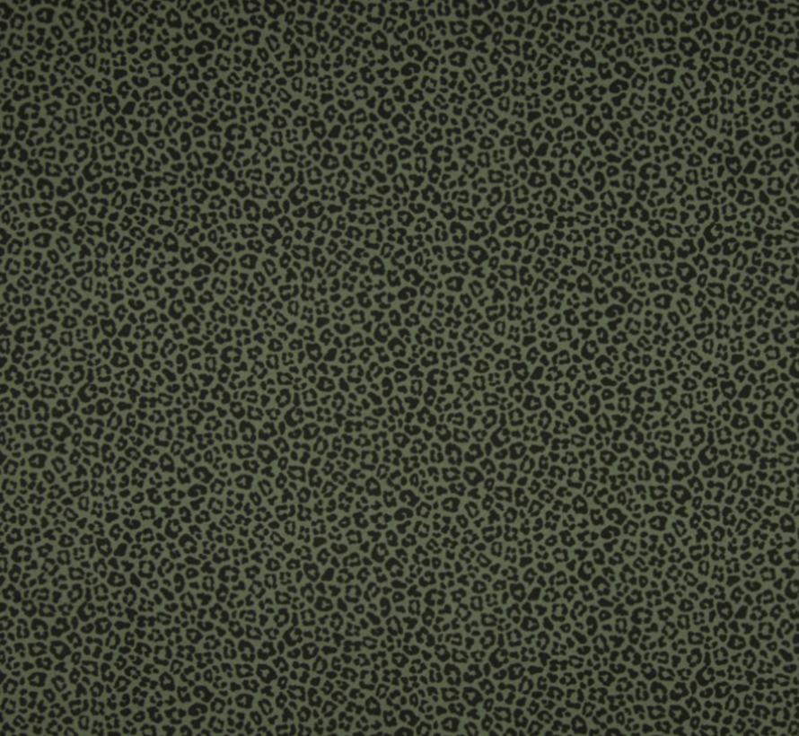 Donkergroene panterprint poplin stof