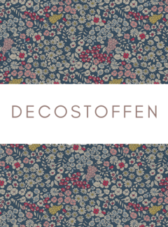 Decostoffen Blauwe bloemen linnenlook