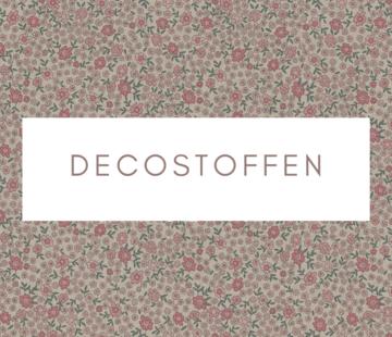 Decostoffen Bloemen roze mini linnenlook