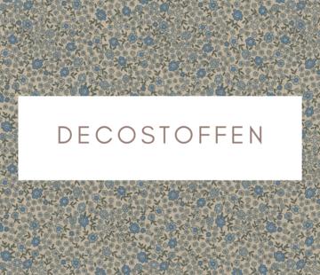 Decostoffen Bloemen blauw mini linnenlook
