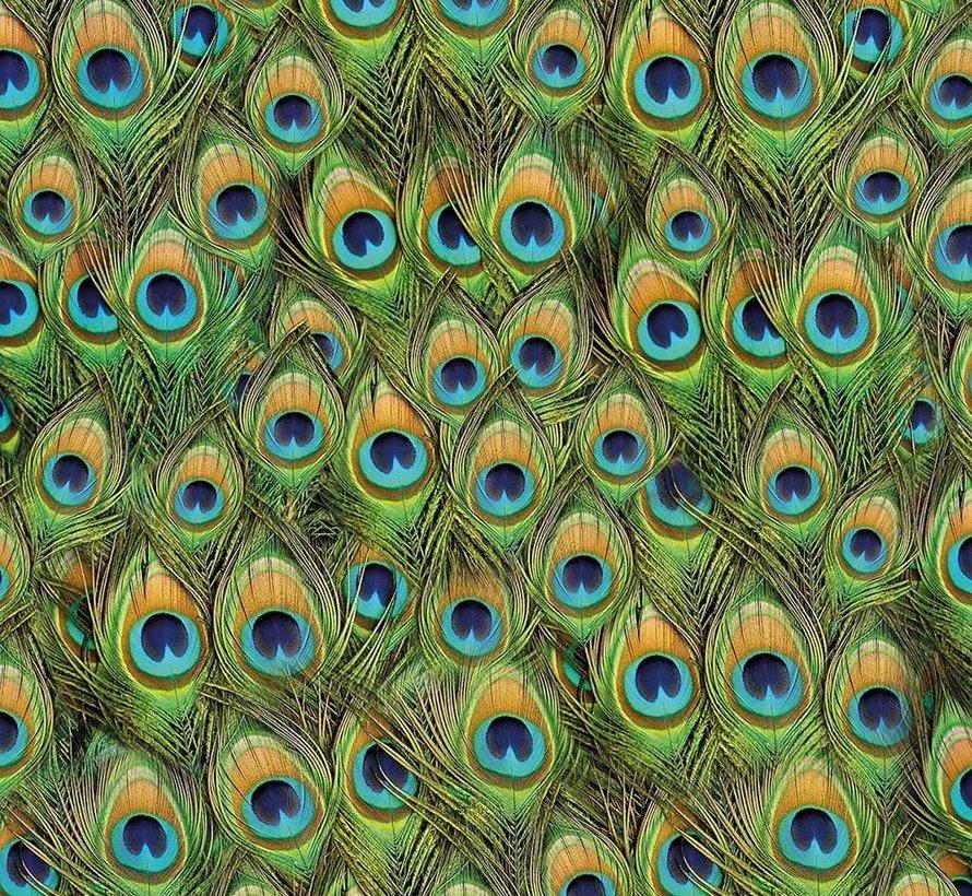 Pauwenveren velvet digitale print stof