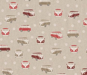 Decostoffen Rode volkswagen linnenlook