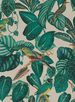 Decostoffen Vogels linnenlook half panama